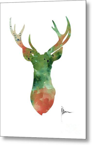 Deer Head Watercolor Large Poster Metal Print