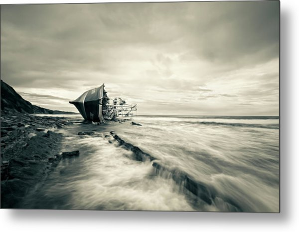 Defeated By The Sea Metal Print