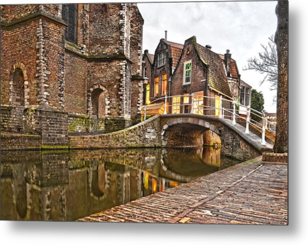 Delft Behind The Church Metal Print