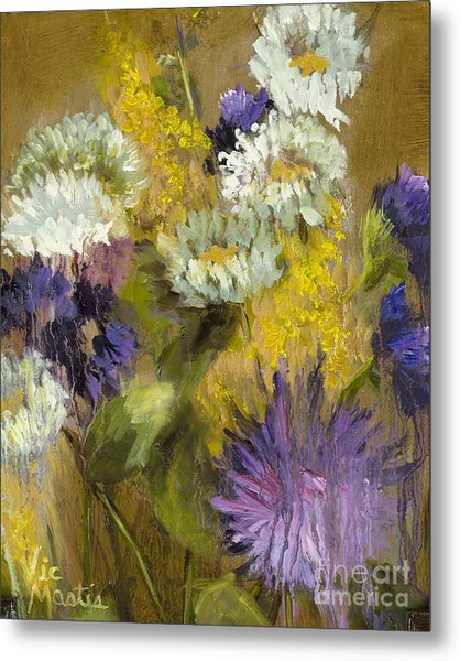 Delicate Aroma I -unframed-with Gold Leaf By Vic Mastis Metal Print