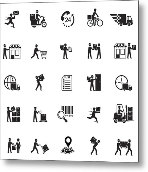 Delivery Icons Metal Print by AlonzoDesign