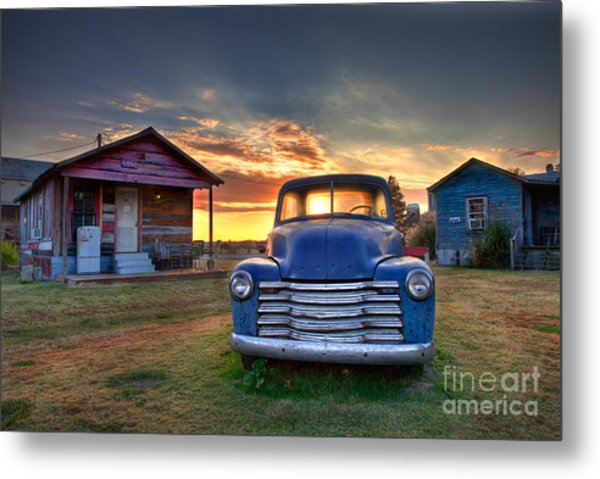 Delta Blue - Old Blue Chevy Truck In The Mississippi Delta Metal Print