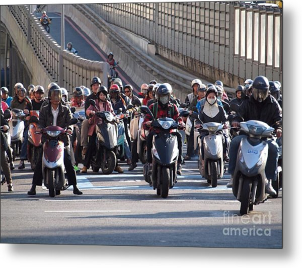 Dense Scooter Traffic In Taiwan Metal Print