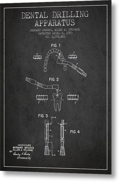 Dental Drilling Apparatus Patent From 1963 - Dark Metal Print