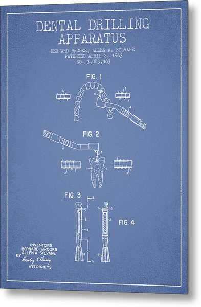 Dental Drilling Apparatus Patent From 1963 - Light Blue Metal Print