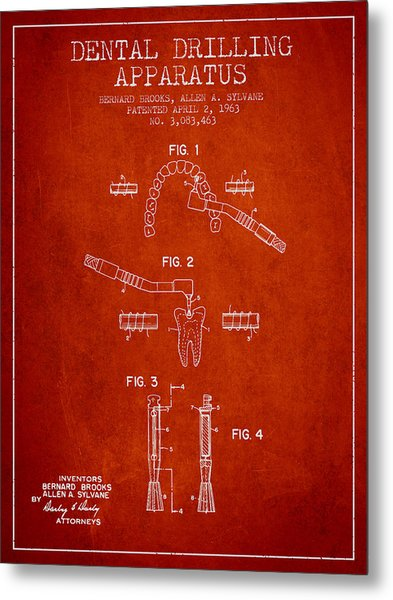 Dental Drilling Apparatus Patent From 1963 - Red Metal Print