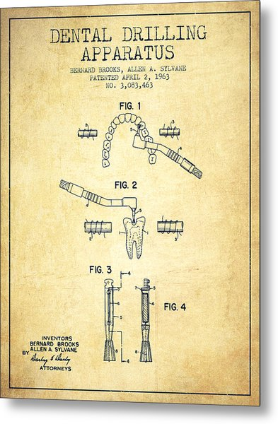 Dental Drilling Apparatus Patent From 1963 - Vintage Metal Print