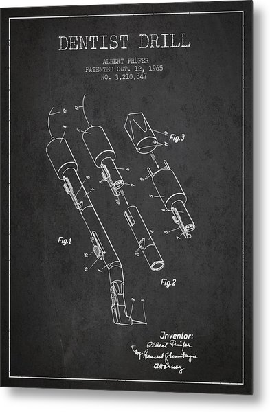 Dentist Drill Patent From 1965 - Dark Metal Print