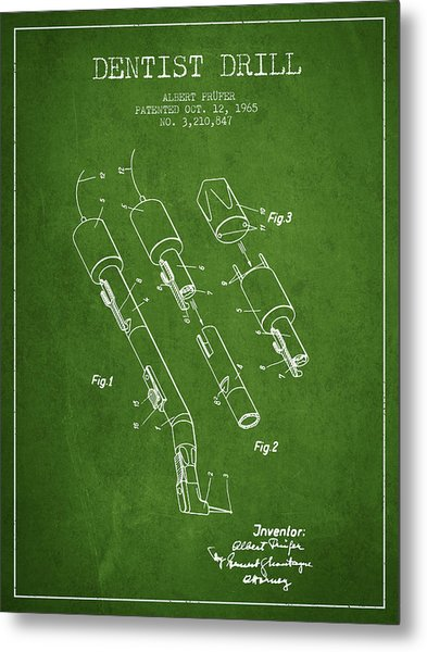 Dentist Drill Patent From 1965 - Green Metal Print