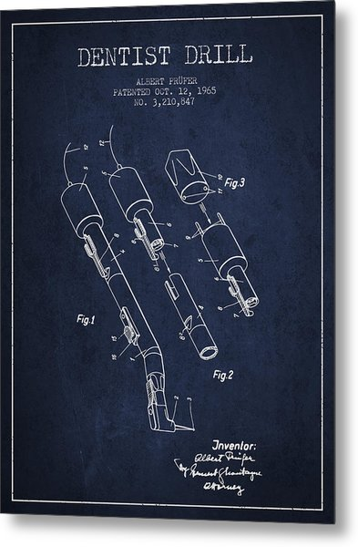 Dentist Drill Patent From 1965 - Navy Blue Metal Print