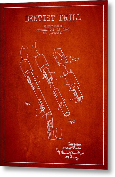 Dentist Drill Patent From 1965 - Red Metal Print