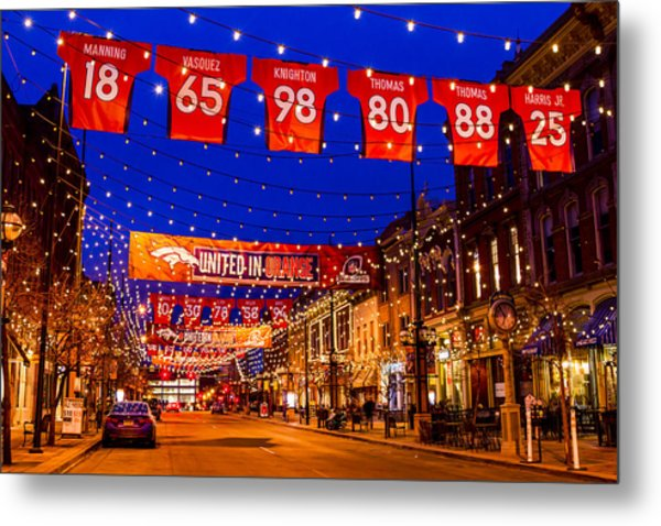 Denver Larimer Square Blue Hour Nfl United In Orange Metal Print