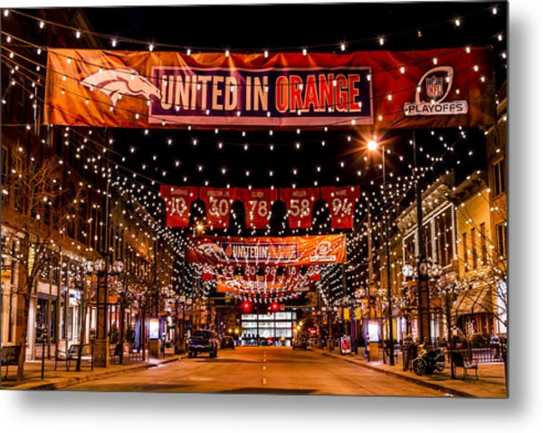 Denver Larimer Square Nfl United In Orange Metal Print