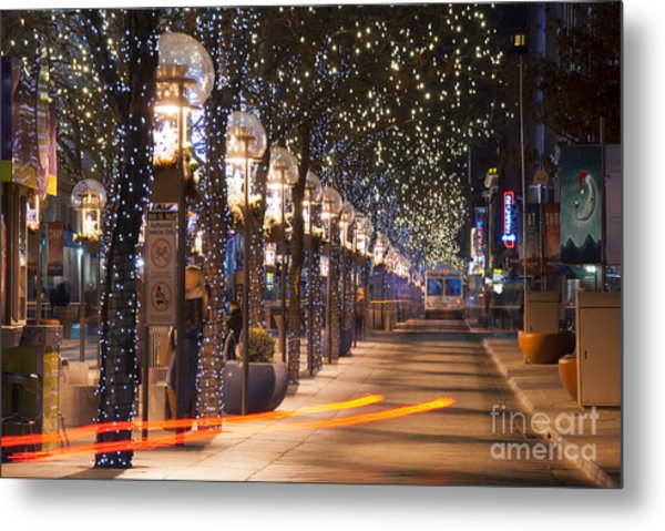 Denver's 16th Street Mall At Christmas Metal Print