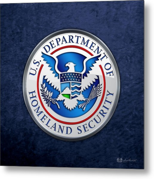 Department Of Homeland Security - D H S Emblem On Blue Velvet Metal Print