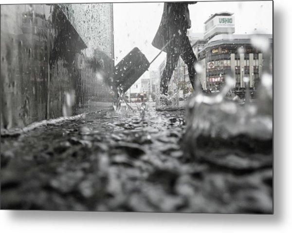 Departure On A Rainy Day Metal Print