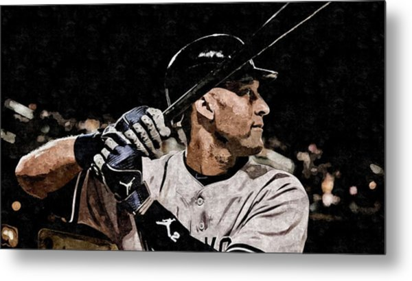 Derek Jeter On Canvas Metal Print