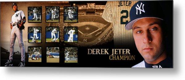 Derek Jeter Panoramic Art Metal Print