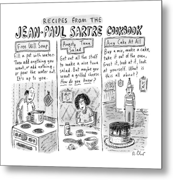Descriptions Of Jean-paul Sartre Cookbook Recipes Metal Print