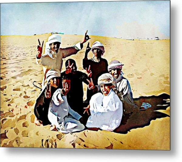 Desert Kids Metal Print by Peter Waters