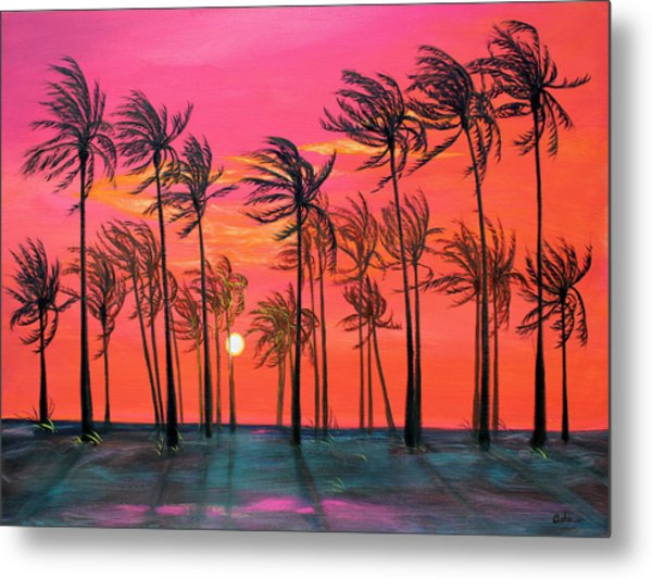 Desert Palm Trees At Sunset Metal Print