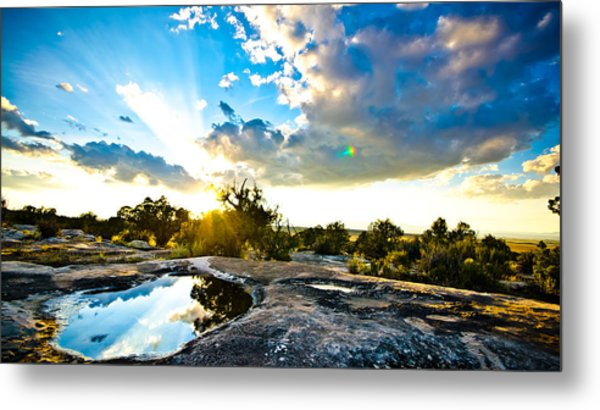 Desert Puddle Reflection Metal Print by Chase Taylor