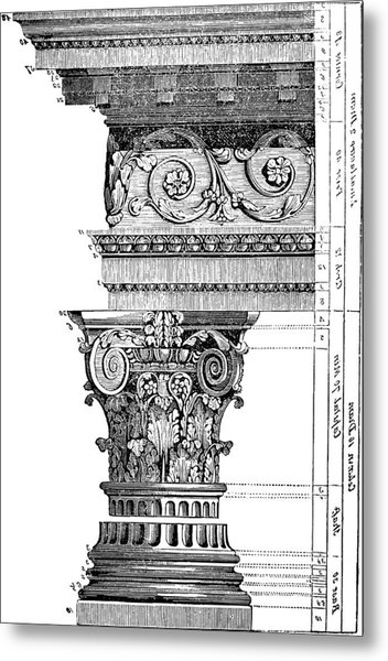 Detail Of A Corinthian Column And Frieze II Metal Print