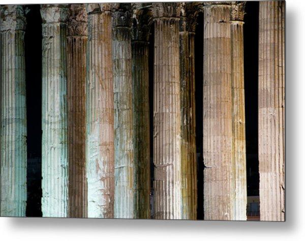 Detail Of Surviving Columns On Temple Metal Print by Krzysztof Dydynski