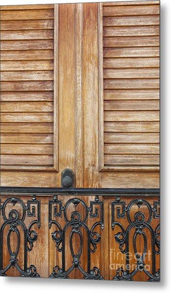 Detail Of Wooden Door And Wrought Iron In Old San Juan Puerto Ric Metal Print