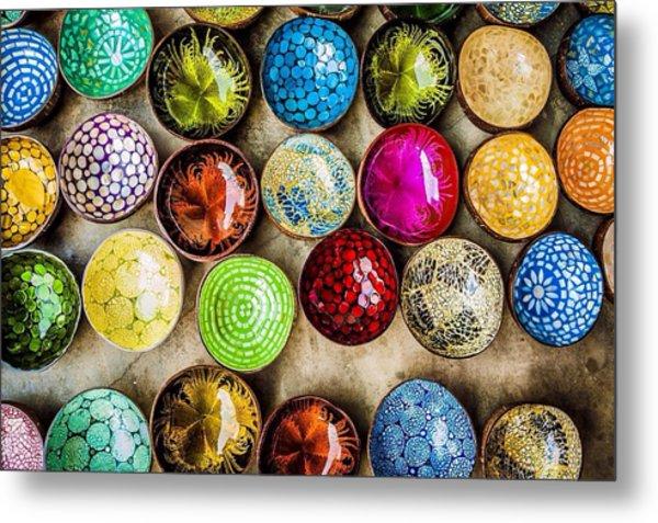 Detail Shot Of Colorful Bowls Metal Print by Nam Bui Anh / Eyeem