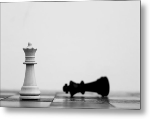 Detail Shot Of White Chess Piece Metal Print by Moritz Haisch / Eyeem