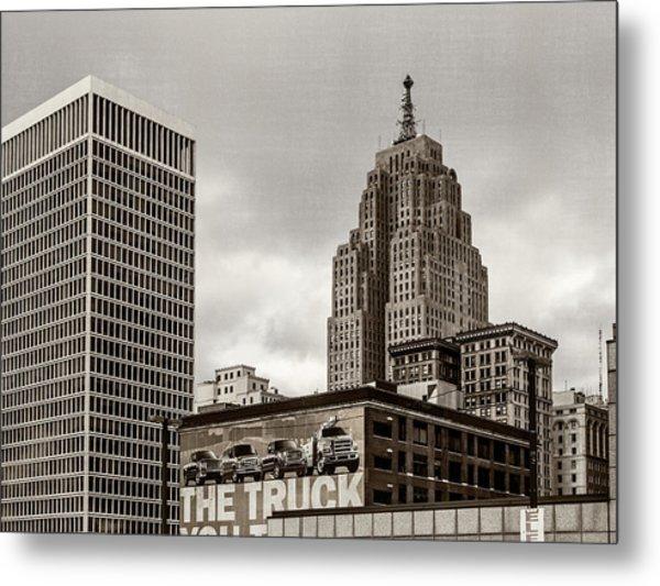 Detroit Cityscape - Penobscot Building Metal Print