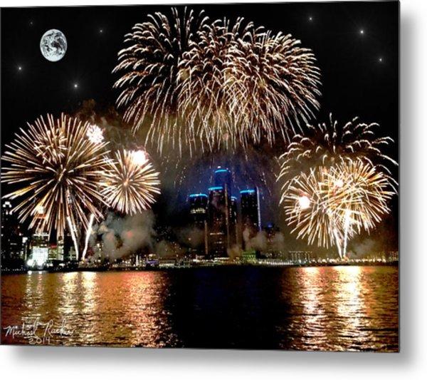 Detroit Fireworks Metal Print by Michael Rucker