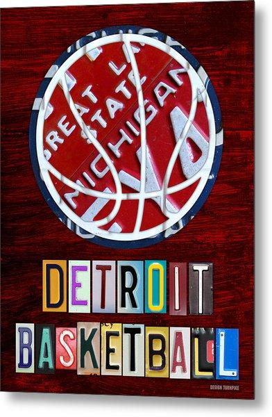 Detroit Pistons Basketball Vintage License Plate Art Metal Print