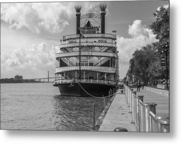 Detroit River Princess Black And White  Metal Print