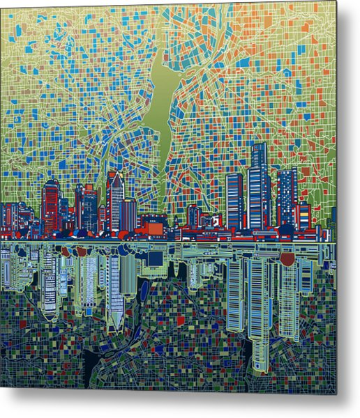 Detroit Skyline Abstract 3 Metal Print