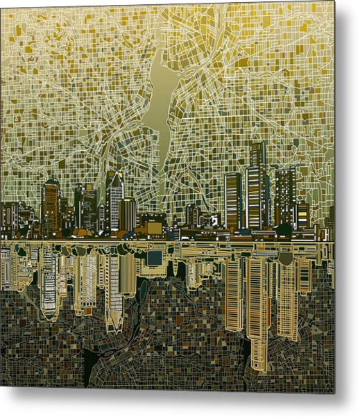 Detroit Skyline Abstract 4 Metal Print