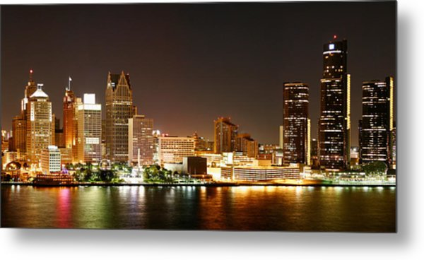Detroit Skyline At Night-color Metal Print