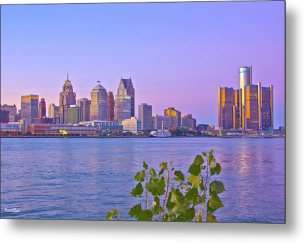 Detroit Skyline At Sunset Metal Print
