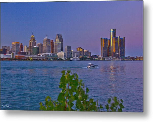 Detroit Skyline At Twilite With Boat Metal Print