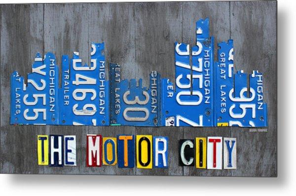 Detroit The Motor City Skyline License Plate Art On Gray Wood Boards  Metal Print
