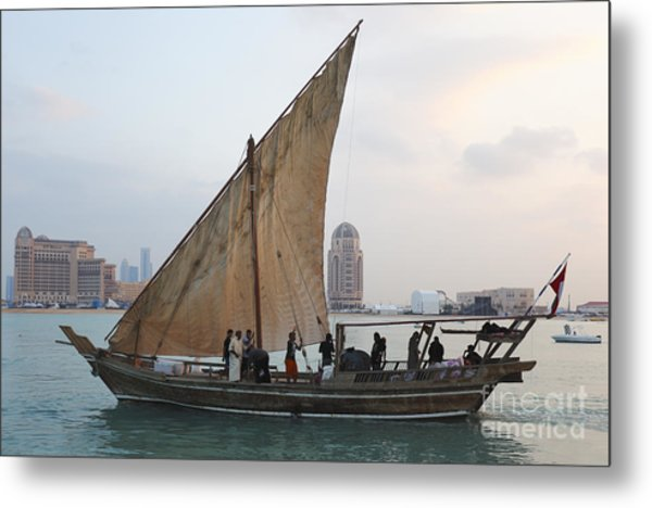 Dhow And Hotels Metal Print