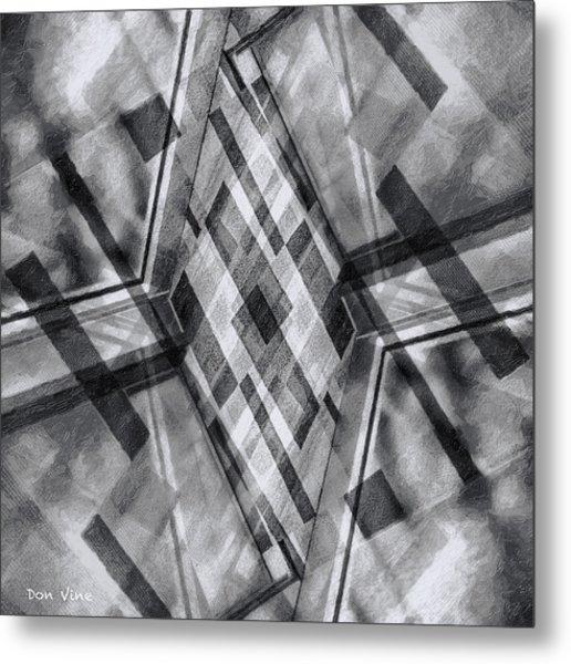 Diamond Cross  Bw Metal Print