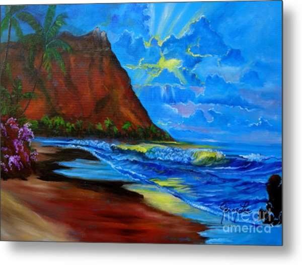 Diamond Head Blue Metal Print