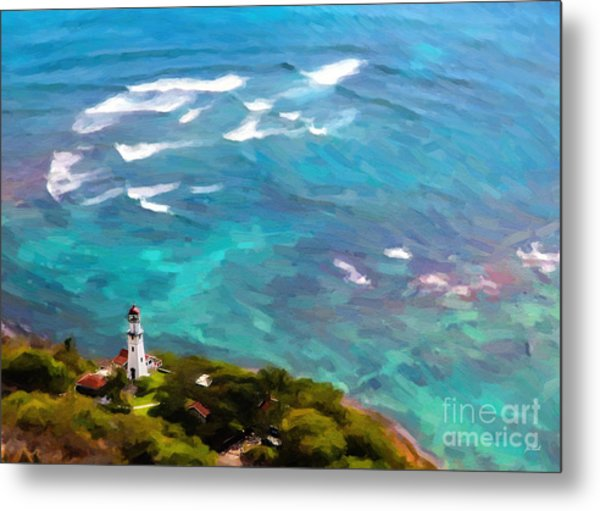 Diamond Head Lighthouse View Metal Print