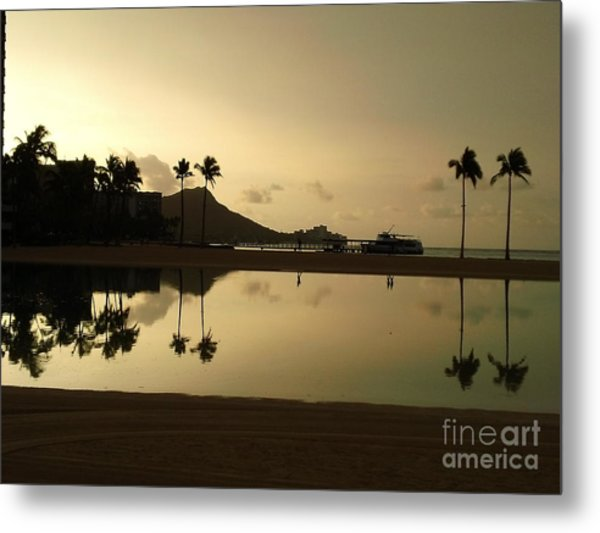 Diamond Head Reflection Metal Print