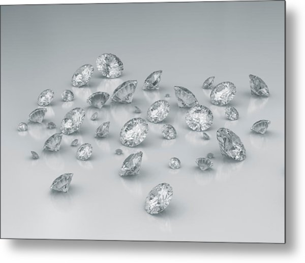 Diamonds Against Grey Background Metal Print