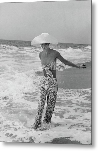 Diana Ewing Playing At A Beach Metal Print