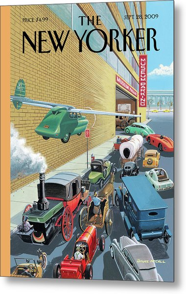 Different Types Of Cars From The Past Waiting Metal Print by Bruce McCall