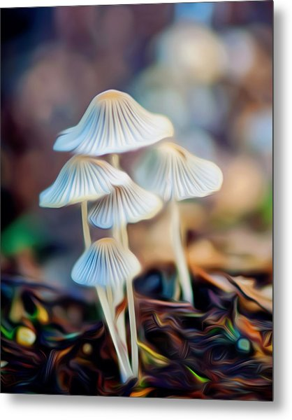 Digital Art Mushrooms Metal Print by Tammy Smith